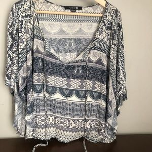 Blue and gray forever 21 patterned blouse